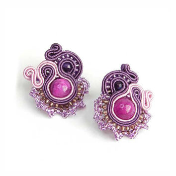 CHRISTMAS SALE 30%, Soutache Earrings, Purple Pink, OOAK Earrings, Handmade Jewelry, Lightweight Earrings, Beadwork Earrings