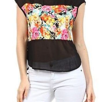 Cap Sleeve Sheer & Flower Print Hi-Low Hem Loose Top Shirt Chiffon Blouse