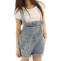 Womens Striped Denim Distresses Front Flap Pocket Short Overalls
