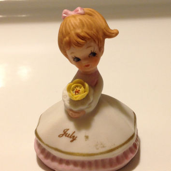 Lefton July Birthday Girl Figurine Bisque Porcelain Vintage 2044 Little Lady in Frock Dress