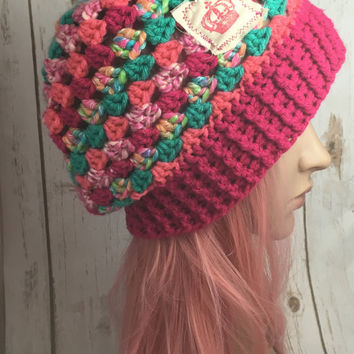Women's granny stitch crochet winter hat, Pink & Teal.