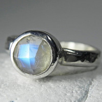 Moonstone Ring  Rainbow Moonstone Ring  by FantaSeaJewelry on Etsy