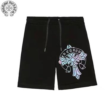 Chrome Hearts New fashion multicolor reflective pattern couple shorts Black