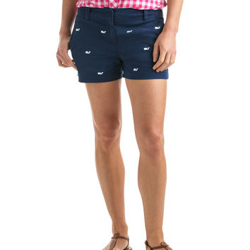 Whale Embroidered 3 1/2 Inch Every Day Shorts