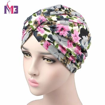 bc3177bfccf Spring Fashion Women Flower Printing Turban Modal Cotton Turban