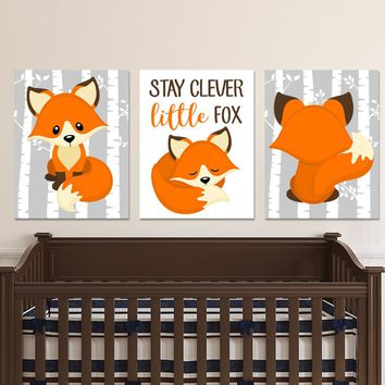 FOX WALL Art, Cute Fox Nursery Art, Woodland Fox Nursery Decor, Stay Clever Little Fox Quote, Cute Fox Birch Trees CANVAS or Prints Set of 3