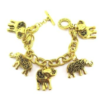 Elephant Mania Charm Linked Bracelet in Gold | Animal Jewelry