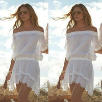 Women Sexy Bathing Suit Lace Crochet Bikini Cover Up Swimwear Summer Beach Dress = 1956781188