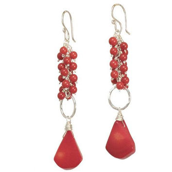 Red Coral Rose Gold Earrings