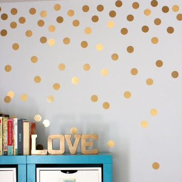 Gold Polka Dots Wall Sticker Baby Nursery Stickers Kids Golden Polka Dots Children Wall Decals Home Decor DIY Vinyl Wall Art P5