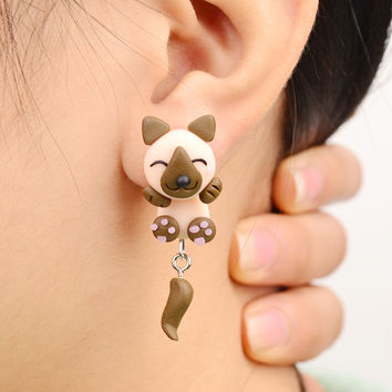 Handmade Polymer Clay Anime Khaki Dog Stud Earrings For Women Fashion Animal brincos Piercing Earrings Jewelry bijoux 8573