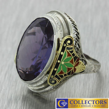 1930s Antique Art Deco 10k Solid White Gold Large Amethyst Red Green Enamel Ring