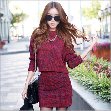 2015 Hotselling Women Sweaters Women 2 Piece Skirt Sets Christmas Sweater Women Sweaters and Pullovers 2 Piece Set Women