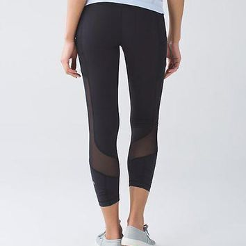 lululemon fashion print exercise fitness gym yoga running net yarn leggings sweatpants 7 points long