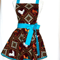 Chickens and Roosters Chef Apron, Petite Size Apron, Custom Personalized With First Name,  No Shipping Fees, Ready To Ship TODAY, AGFT 974