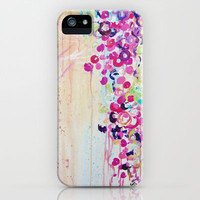 DANCE OF THE SAKURA - Lovely Floral Abstract Japanese Cherry Blossoms Painting, Feminine Peach Blue  iPhone & iPod Case by EbiEmporium