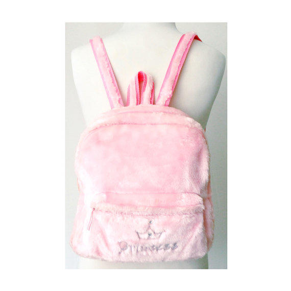 Pink Faux Fur Mini Backpack Pastel From Foxcultvintage