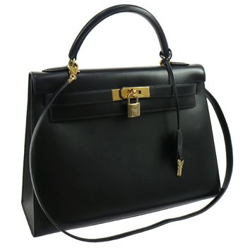 Authentic HERMES KELLY 32 SELLIER 2way Hand Bag Black Box Calf EXCELLENT JT06226