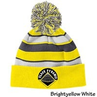 Black Pyramid 223835 Holloway Striped Beanie with Pom