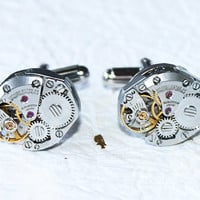 CITIZEN Men Steampunk Cufflinks - Matching Silver Vintage Watch Movement Men Steampunk Cufflinks / Cuff Links - Groomsmen Wedding Gift