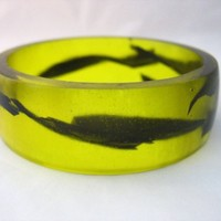 Neon yellow resin bangle bracelet jewelry , wide flat black tape olive oil lemon neon fluro