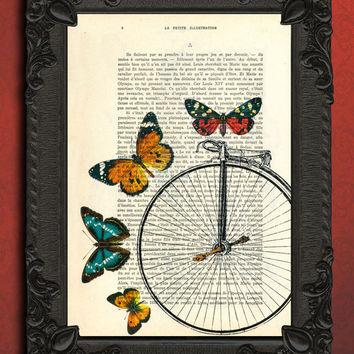 Bicycle wheel surrounded by butterflies - dictionary print - upcycled french book page art print - vintage home decor