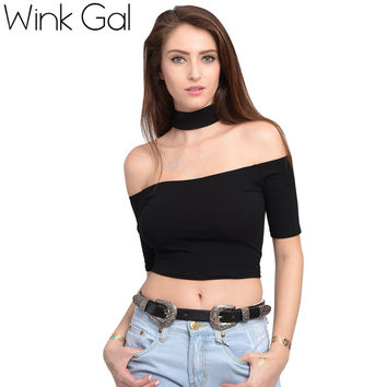 Wink Gal Sexy Top Women T-shirt Turtle Neck Off the Shoulder Summer Tops Clothing W10069