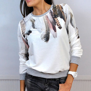 New Woman Tracksuit Feather Casual Crewneck Top Blouse Pullover Jumper Outwear Lady Shirt Clothing