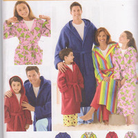 Pattern for wrap front hooded bathrobe in calf or knee length child size 4-16 adult size xs s m l xl chest 30-48 Simplicity 3575 UNCUT