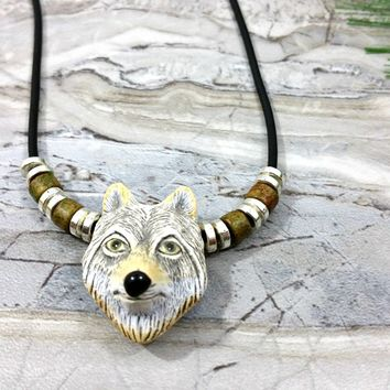 Tribal Pendant Necklace, Unisex Wolf Jewelry, Mens Gift Idea, Mens Wolf Necklace, Boyfriend Gift