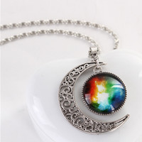 Chic Star And Crescent Artificial Gemstone Moon Shape Pendant Necklace
