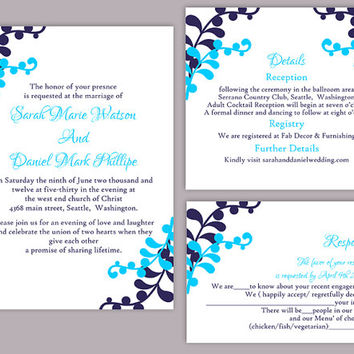 DIY Wedding Invitation Template Set Editable Word File Instant Download Printable Leaf Wedding Invitation Aqua Navy Blue Invitation