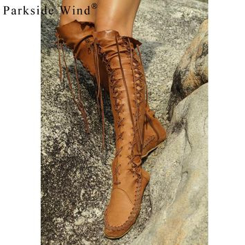 Parkside Wind Cross-tied Knee-high Women's Boots Soft PU Leather Flats Shoes Woman Fashion Knee Shoes for Girls XWN1613-5