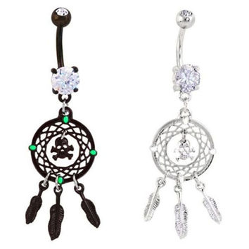 New Rhinestone Crystal Dream Catcher Skull Feather Dangle Belly Button Navel Ring Body Piercing