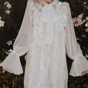 Attention To Detail Sheer Long Sleeve Ruffle Chiffon Bow Neck Flare Top Tunic Blouse