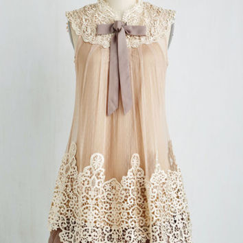 Vintage Inspired, 20s, French Mid-length Sleeveless Tent Expression of Elegance Dress in Taupe by Ryu from ModCloth