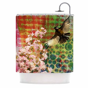 "AlyZen Moonshadow ""Lone Bird With Cherry Blossoms"" Pink Green Digital Shower Curtain"