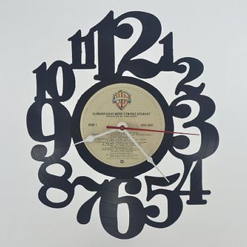 Music Art Unique Handmade Vinyl Record Album Clock (artist is Rod Stewart)