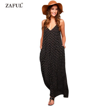 ZAFUL Women Summer Polka Dot Dress Sexy V Neck Sleeveless Bohemian Beach Casual Dress Loose Maxi Long Chiffon feminino Vestidos