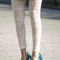 Cream Webbed Tights