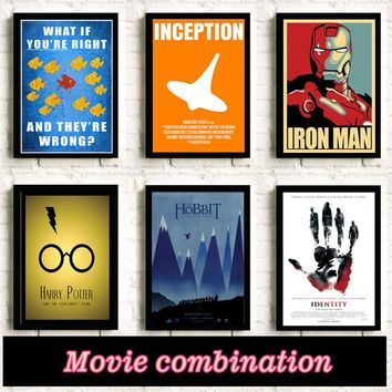 Movie combination Harry Potter Superhero wall art posters room Home Decor Movie quality Kids Room Painting canvas painting K144