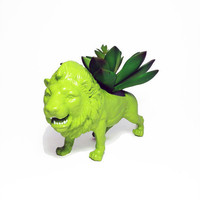 Up-cycled Lime Green Lion Animal Planter - With Succulent Plant
