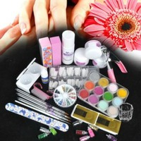 350buy Acrylic 12 Powder Liquid KITS NAILS ART TIPS KIT Clipper Brush Dish Buffer Block