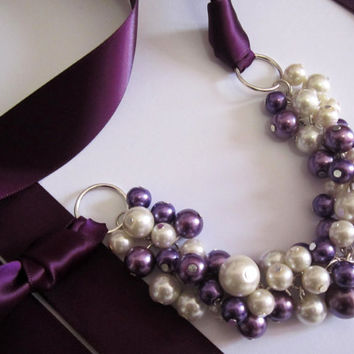 Ivory and Plum Pearl Necklace and Plum Ribbon Tie,Bridesmaid Necklace, Plum Ribbon Necklace Chunky, Cluster Necklace, Bridesmaid Gift