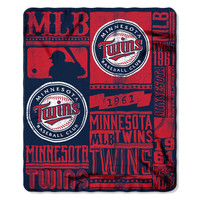Minnesota Twins MLB Light Weight Fleece Blanket (Strength Series) (50inx60in)