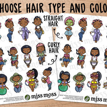 African American Brown Black Afro Braids Cute Girl Assorted Planner Stickers - Erin Condren, Happy Planner, Kikki K, Filofax, Decorative