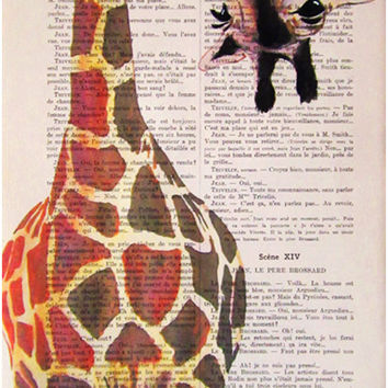 Original Illustration Digital Print Mixed Media  Art Poster Acrylic Painting Holiday Decor Drawing Gifts: Giraffe with green leave