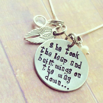 Hand stamped inspirational necklace, she took the leap and built wings on the way down, angel wings , swarovski crystal and pearl charms