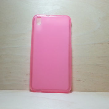 HTC Desire 816 Soft TPU translucent Color Case Protective Silicone Back Case Cover - Pink