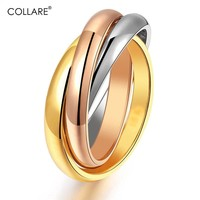 Collare Ring For Women 316L Stainless Steel Three Tone Mix Color Ring With Gift Box Gold/Rose Gold Color Cocktail Ring R103